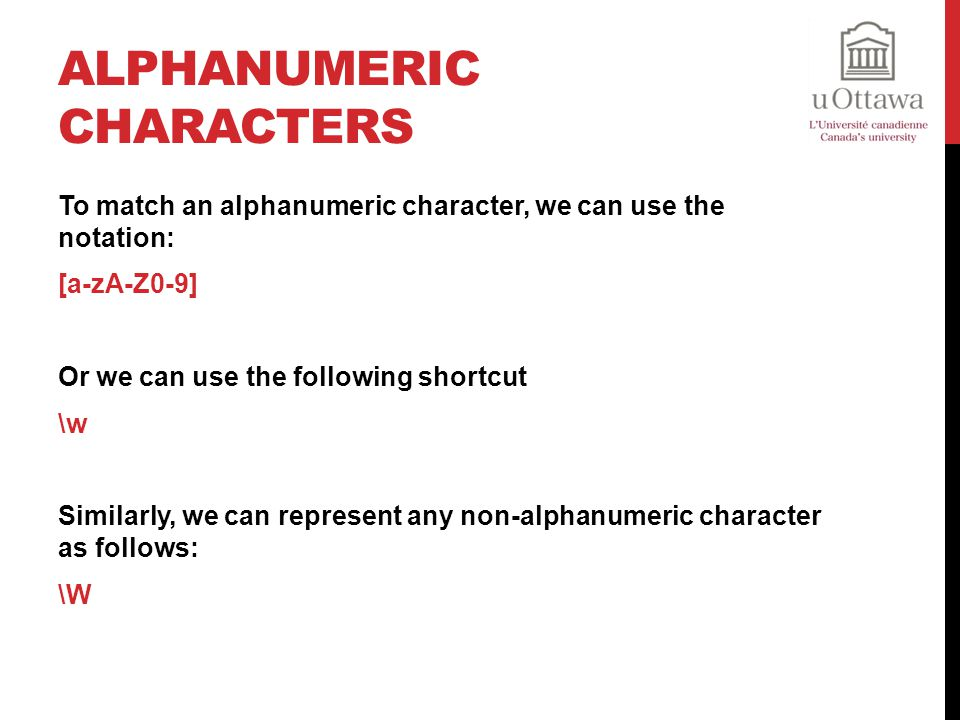 Alphanumeric Characters