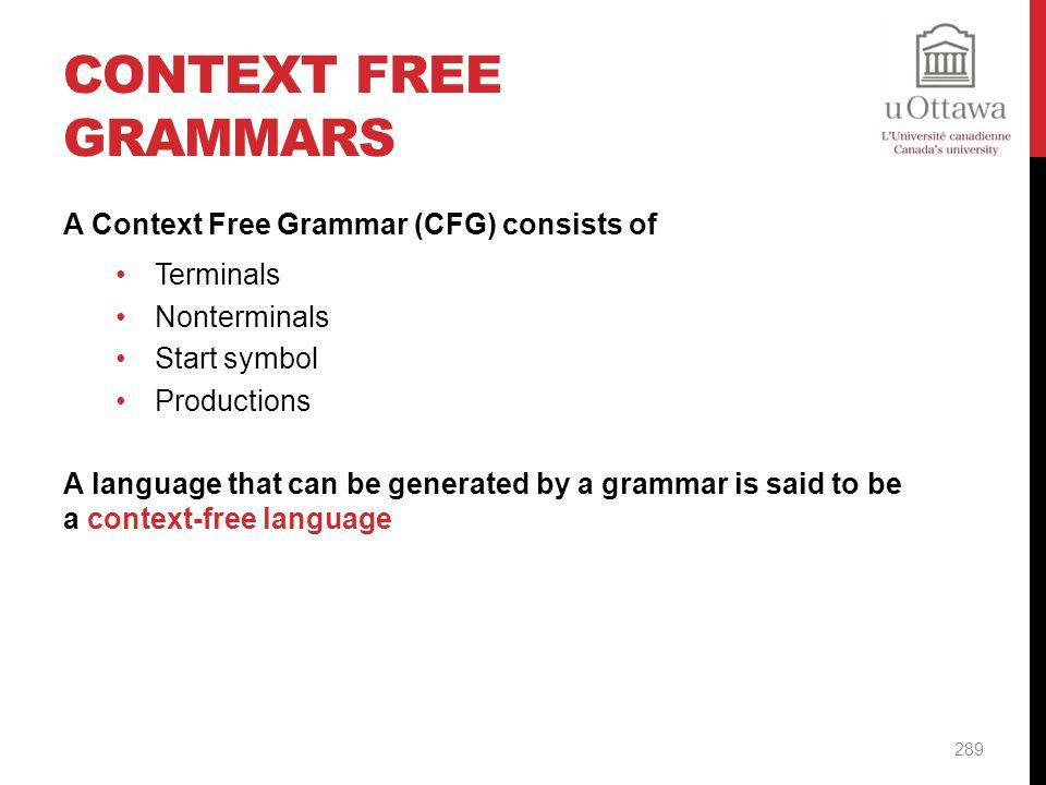 Context Free Grammars A Context Free Grammar (CFG) consists of
