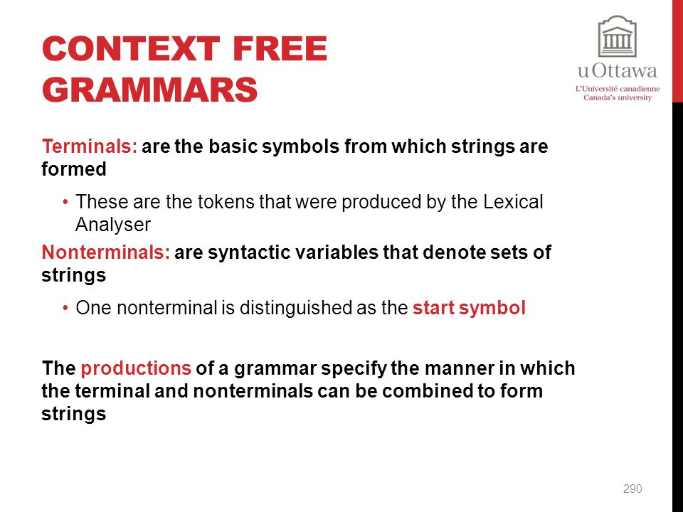 Context Free Grammars Terminals: are the basic symbols from which strings are formed.