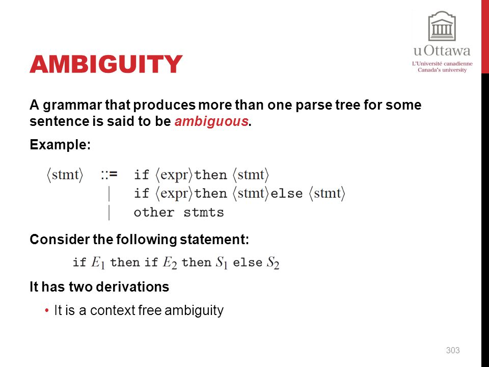 Ambiguity A grammar that produces more than one parse tree for some sentence is said to be ambiguous.