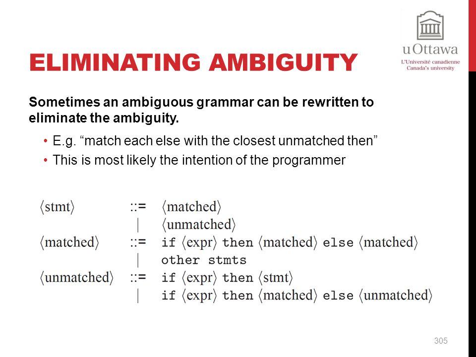 Eliminating Ambiguity