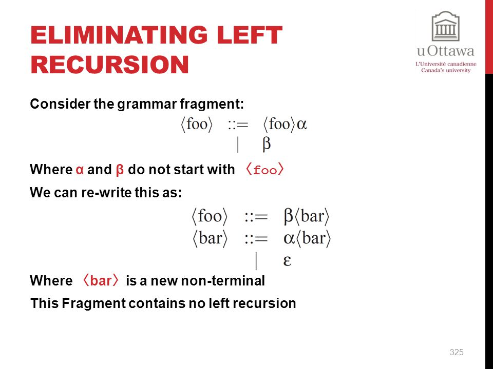 Eliminating Left Recursion