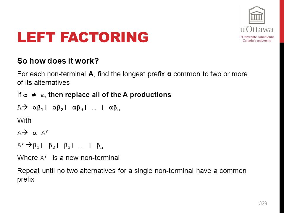 Left Factoring So how does it work