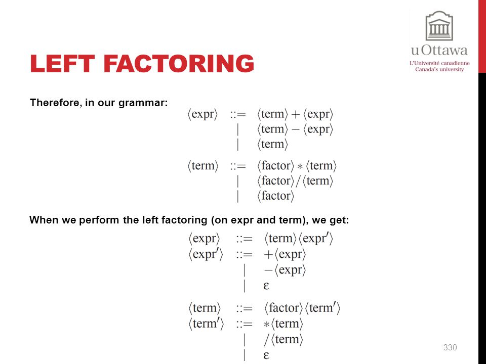 Left Factoring Therefore, in our grammar: When we perform the left factoring (on expr and term), we get: