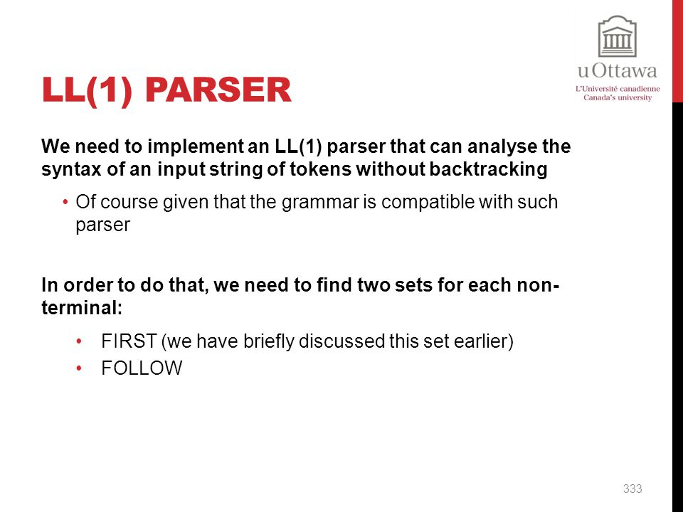 LL(1) Parser We need to implement an LL(1) parser that can analyse the syntax of an input string of tokens without backtracking.
