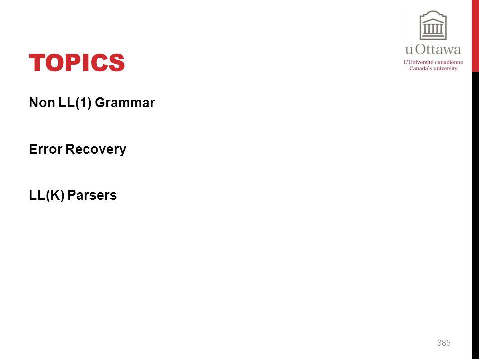 Topics Non LL(1) Grammar Error Recovery LL(K) Parsers