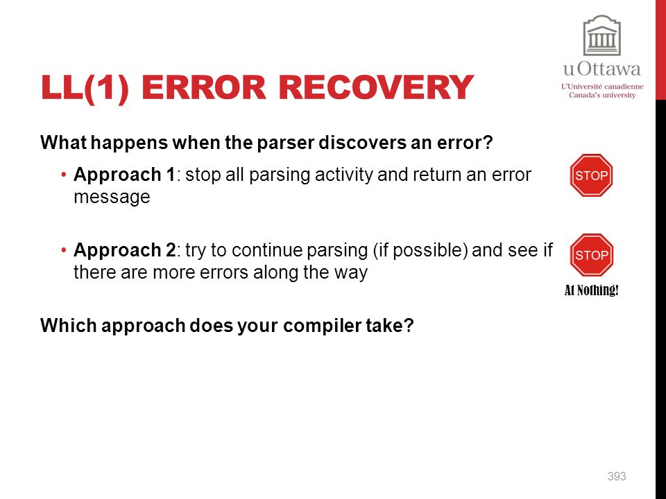 LL(1) Error Recovery What happens when the parser discovers an error