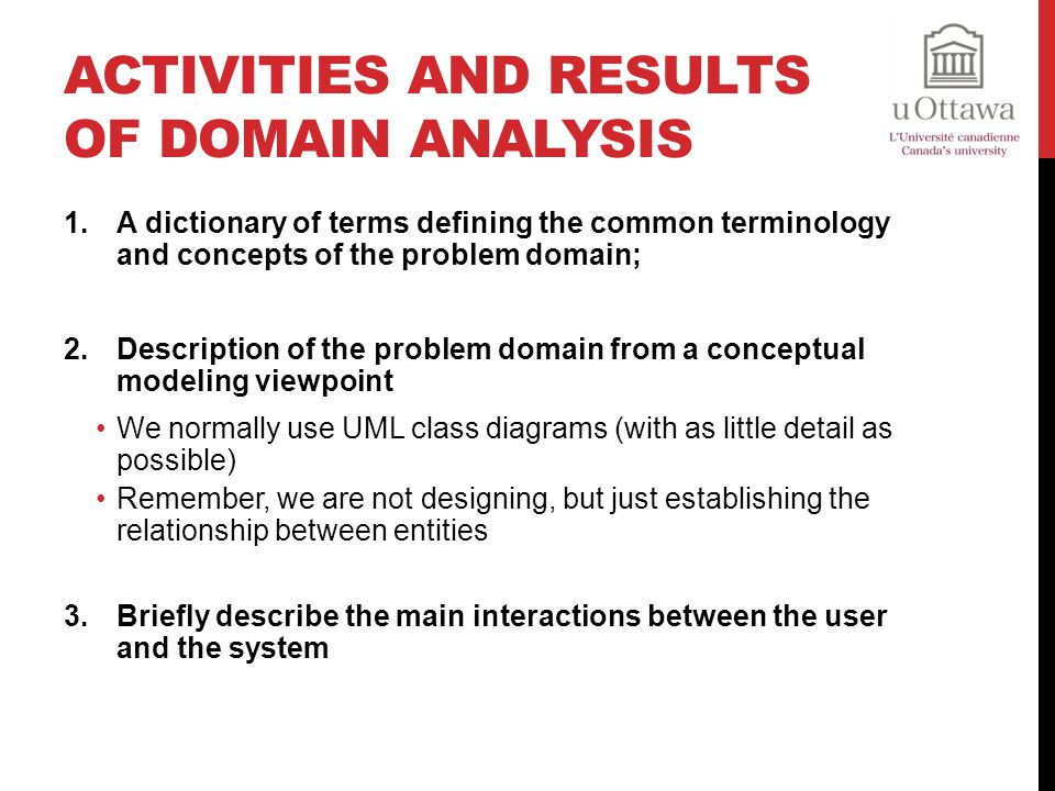 Activities and Results of Domain Analysis