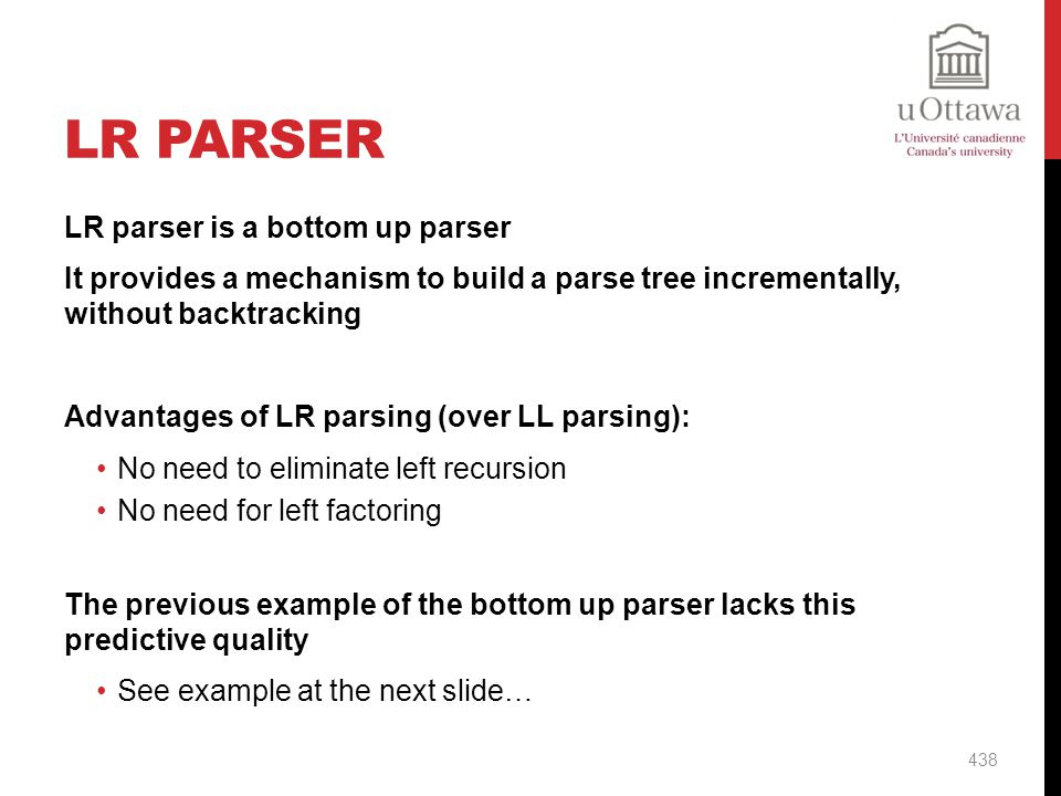 LR Parser LR parser is a bottom up parser