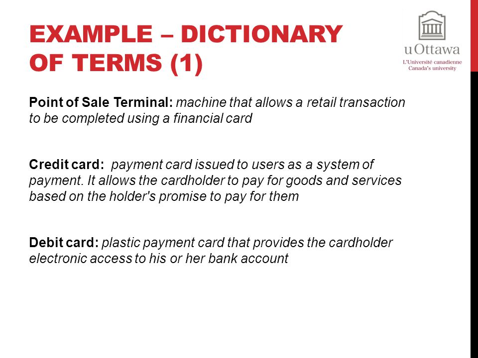 Example – Dictionary of Terms (1)
