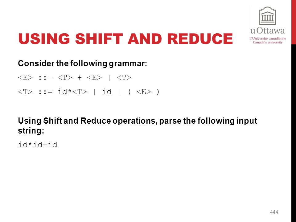 Using Shift And Reduce