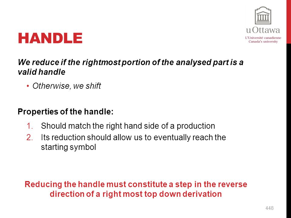 Handle We reduce if the rightmost portion of the analysed part is a valid handle. Otherwise, we shift.