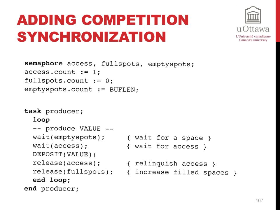 Adding Competition Synchronization