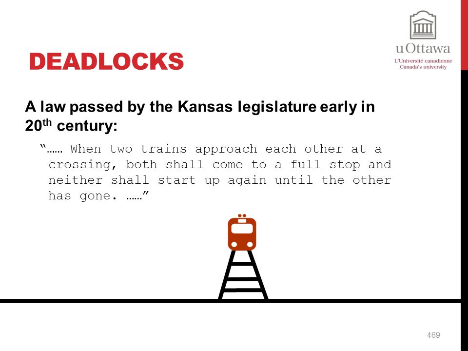 Deadlocks A law passed by the Kansas legislature early in 20th century: