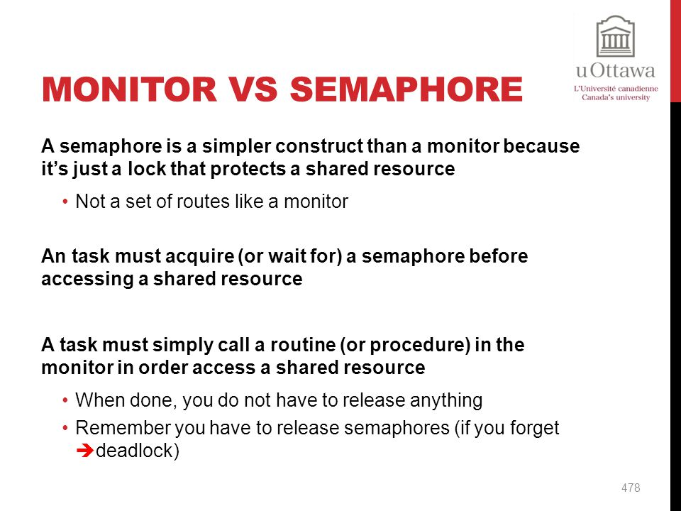 Monitor vs Semaphore A semaphore is a simpler construct than a monitor because it's just a lock that protects a shared resource.