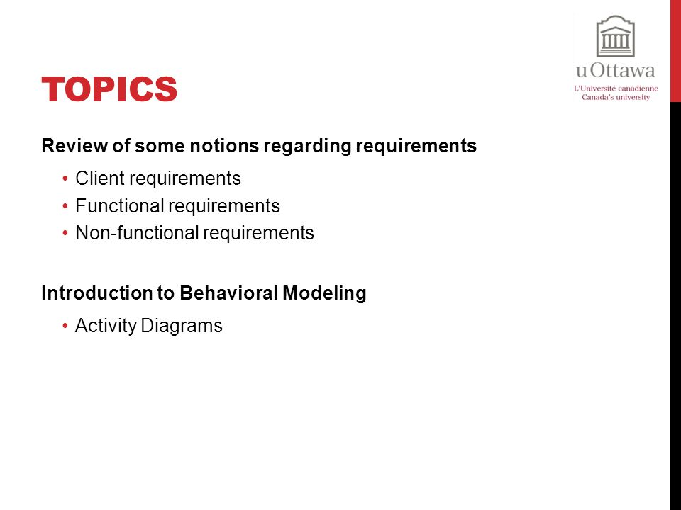 Topics Review of some notions regarding requirements