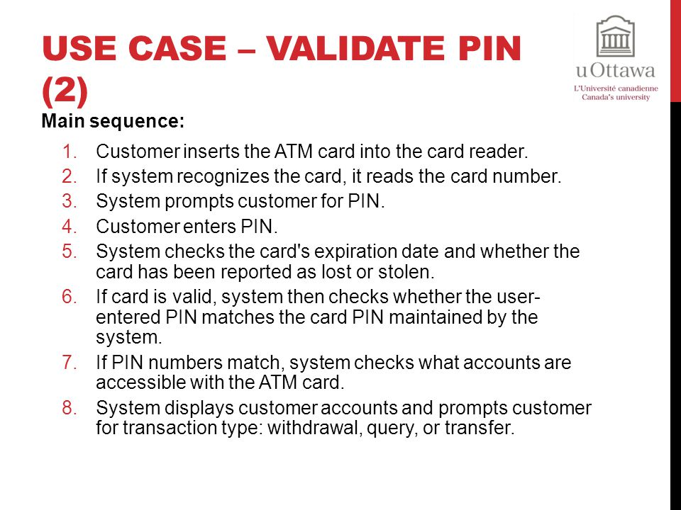 Use Case – Validate PIN (2)