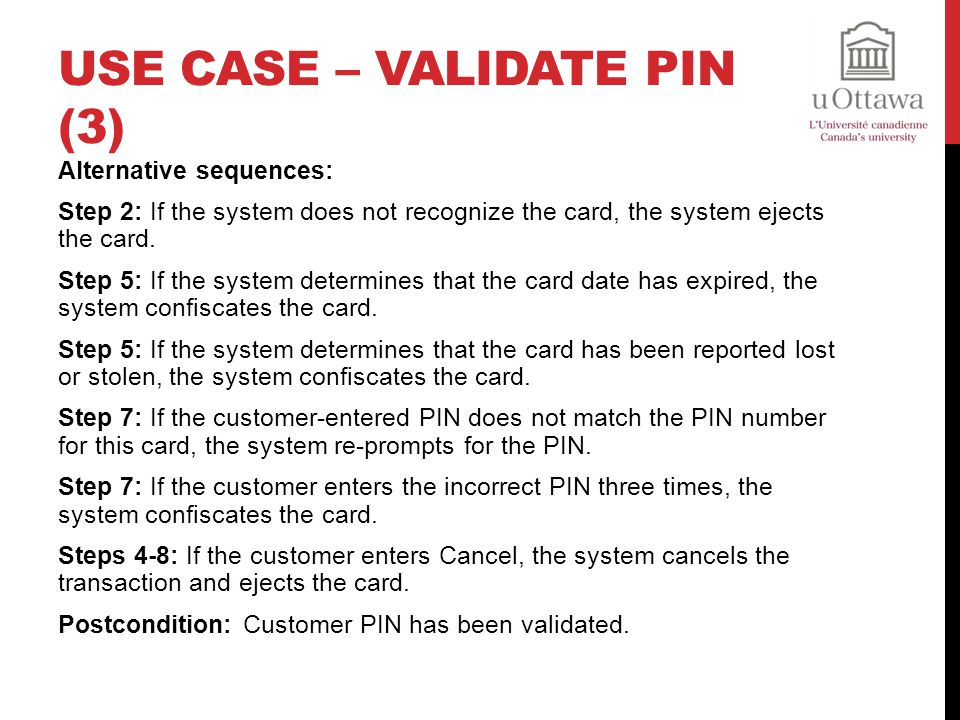 Use Case – Validate PIN (3)