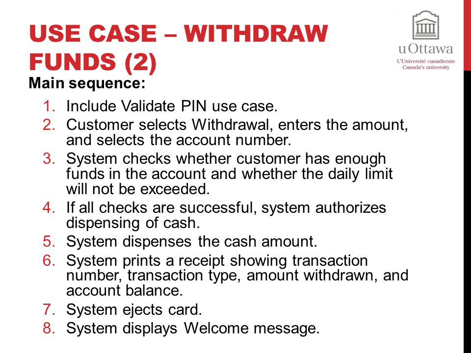 Use Case – Withdraw Funds (2)
