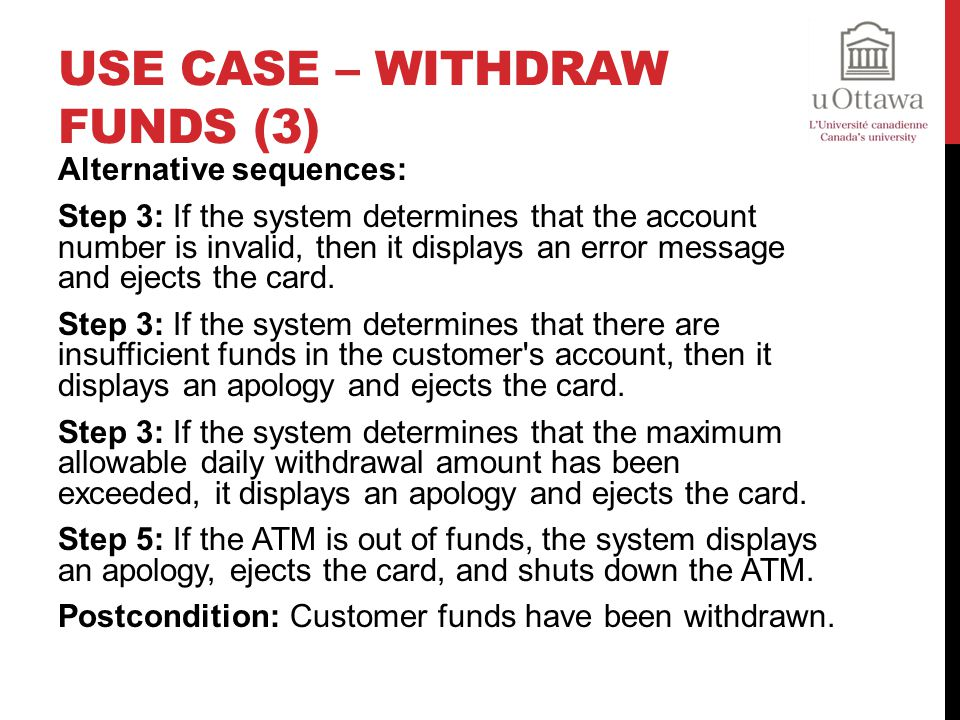 Use Case – Withdraw Funds (3)