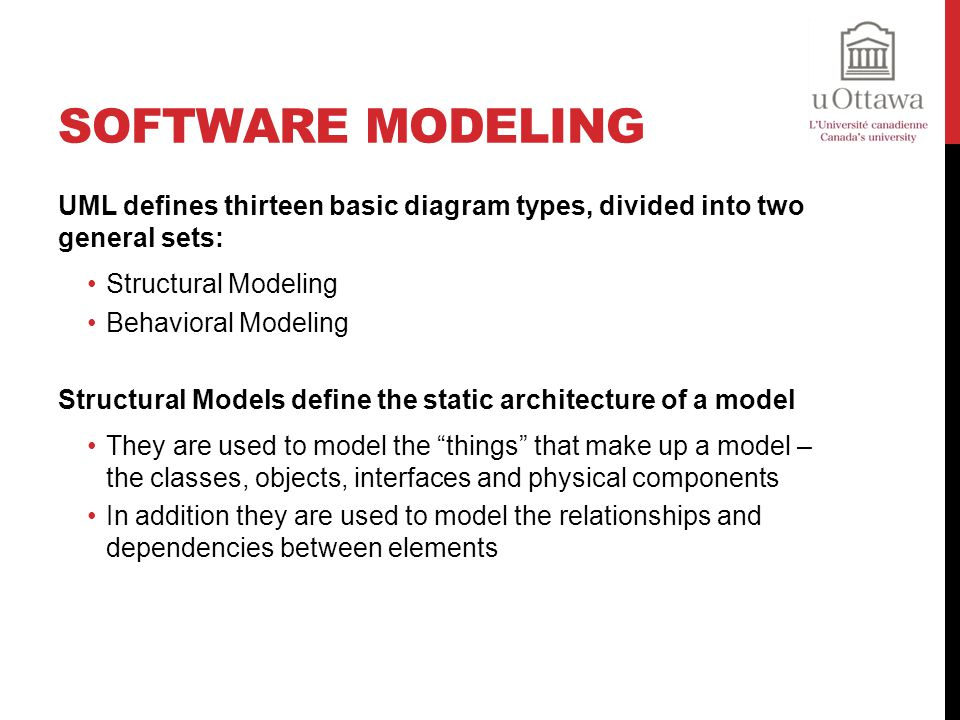 Software Modeling UML defines thirteen basic diagram types, divided into two general sets: Structural Modeling.