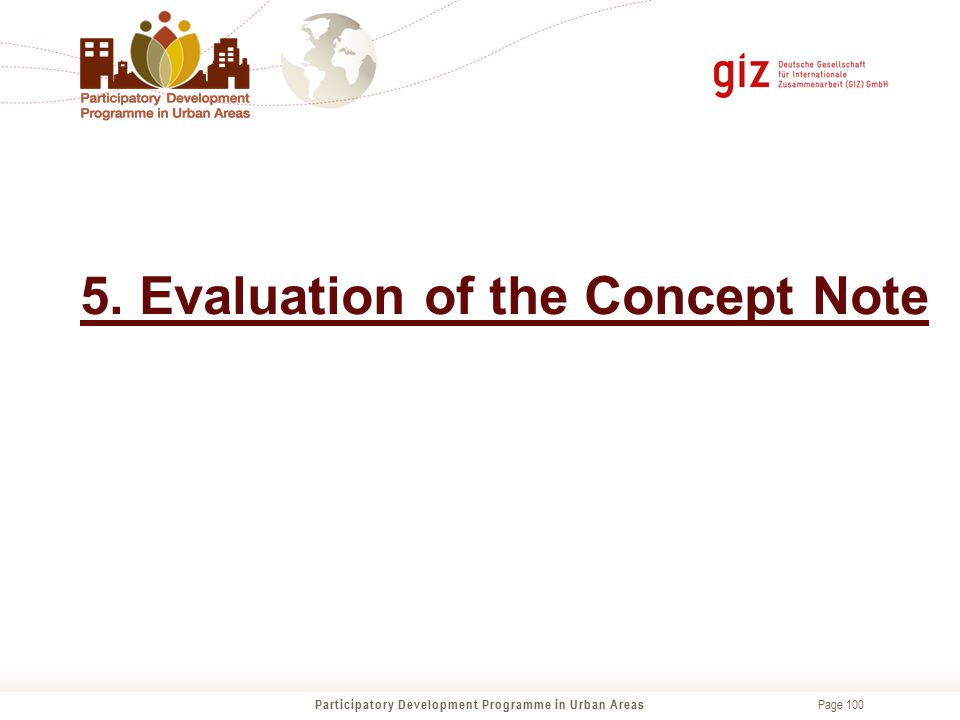 5. Evaluation of the Concept Note