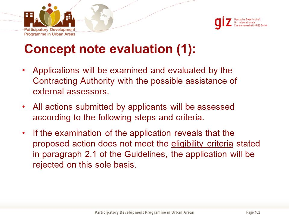 Concept note evaluation (1):