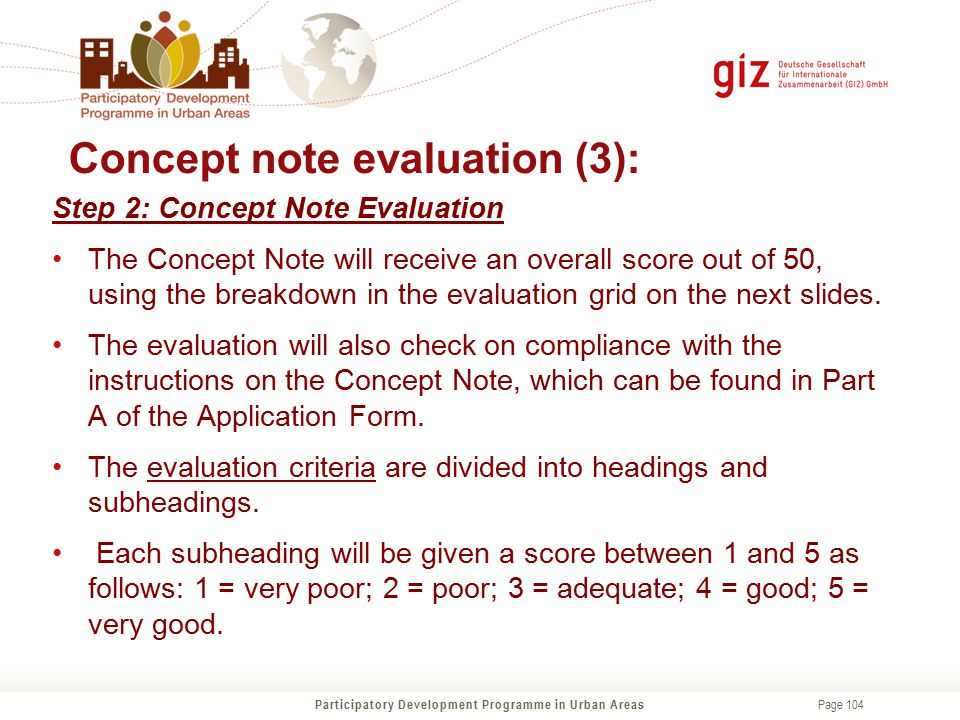 Concept note evaluation (3):