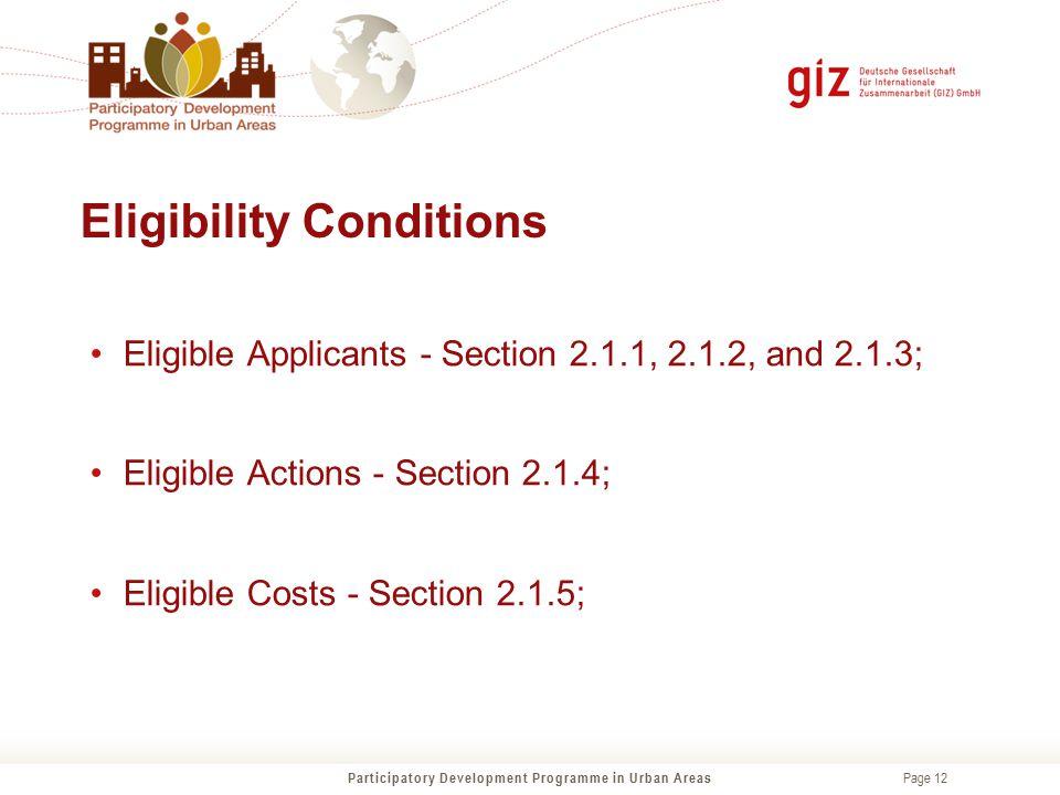 Eligibility Conditions