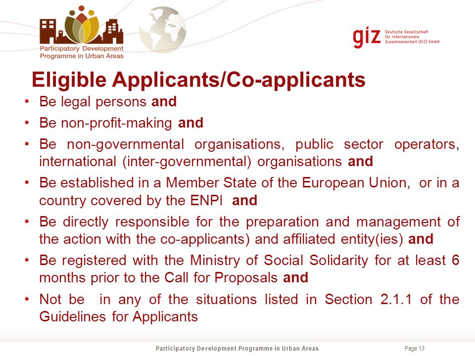 Eligible Applicants/Co-applicants