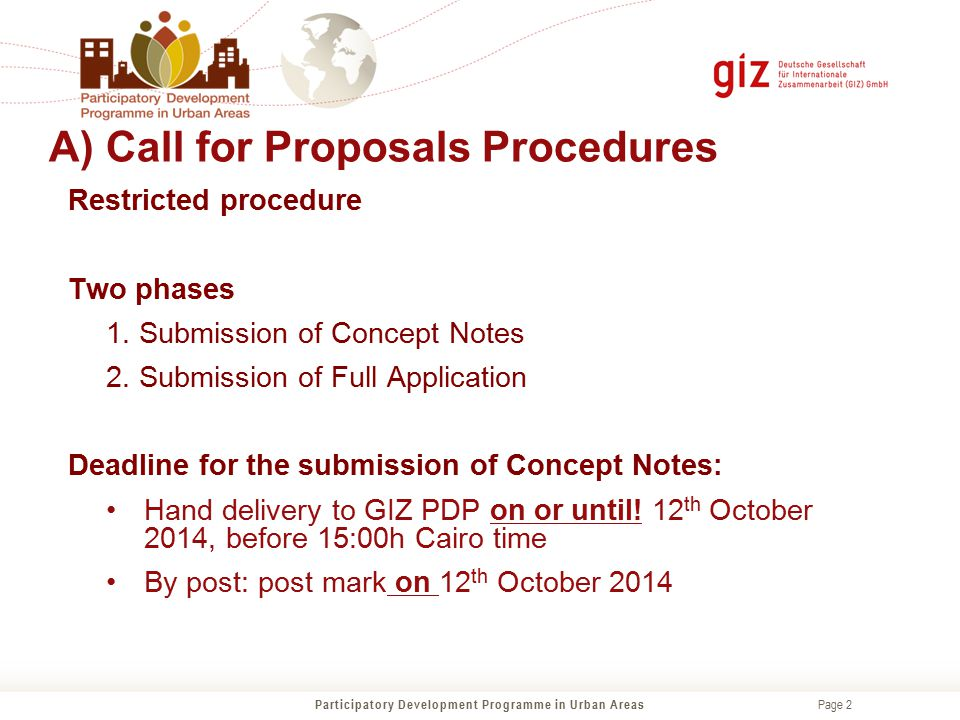 A) Call for Proposals Procedures