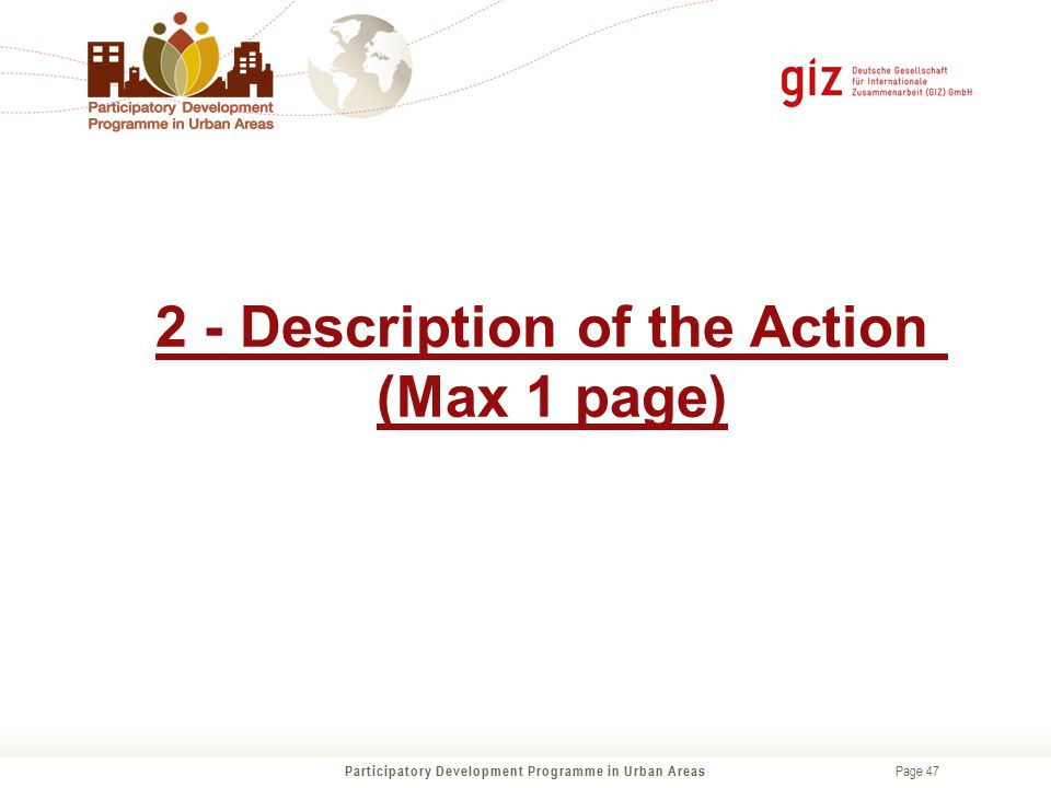 2 - Description of the Action (Max 1 page)