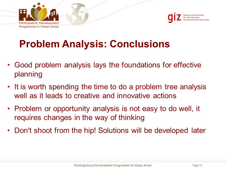 Problem Analysis: Conclusions