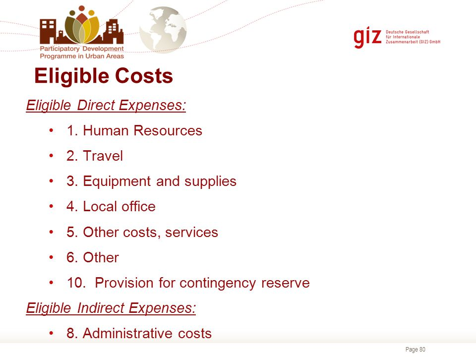 Eligible Costs Eligible Direct Expenses: 1. Human Resources 2. Travel