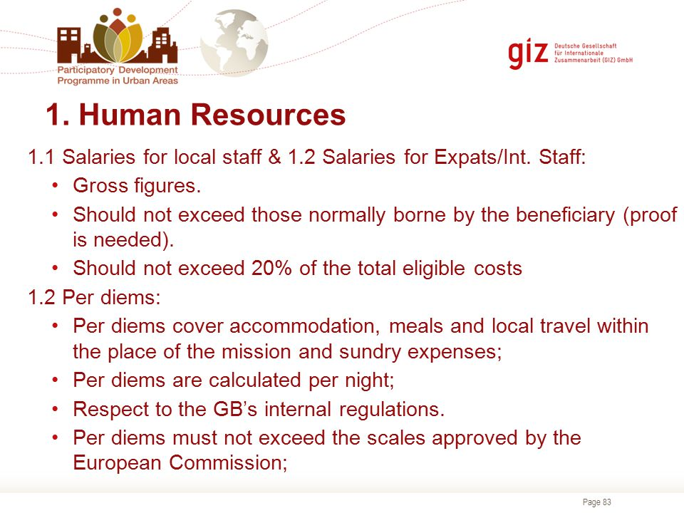1. Human Resources 1.1 Salaries for local staff & 1.2 Salaries for Expats/Int. Staff: Gross figures.