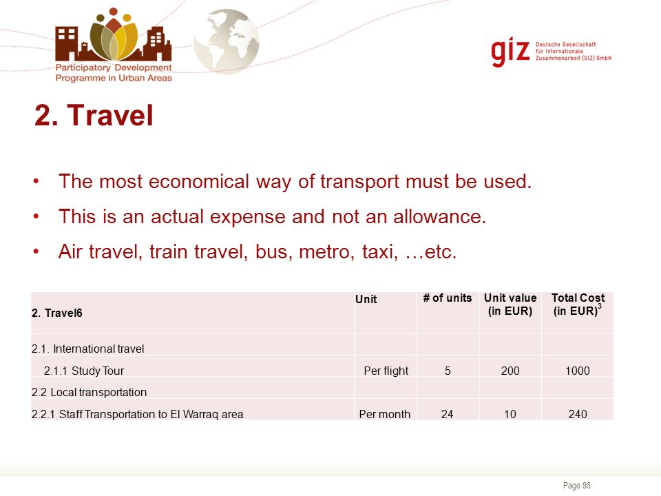 2. Travel The most economical way of transport must be used.