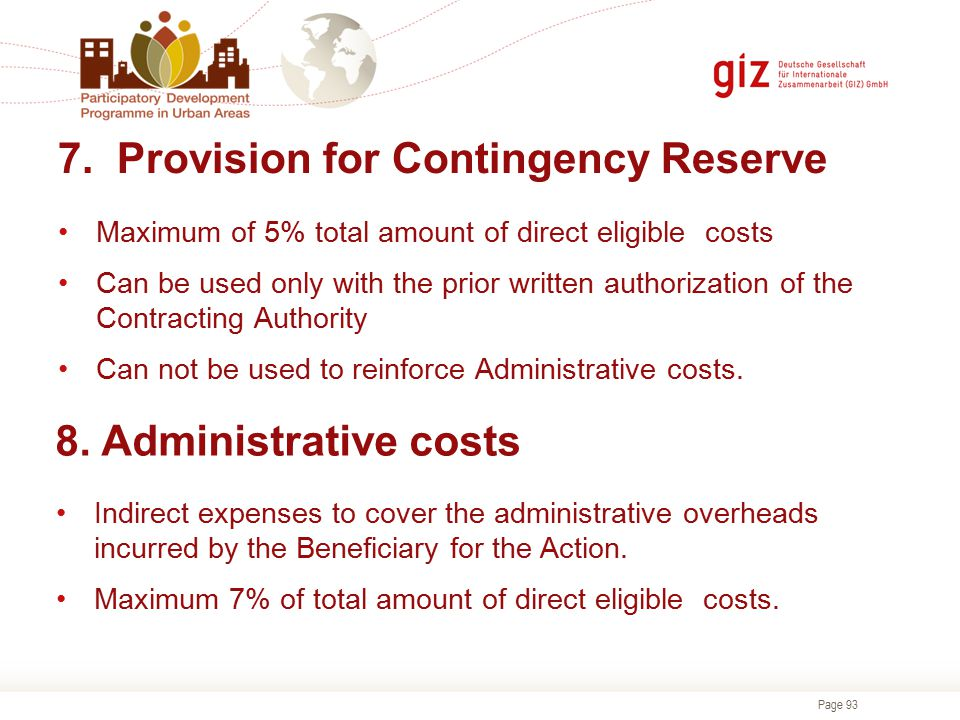 7. Provision for Contingency Reserve