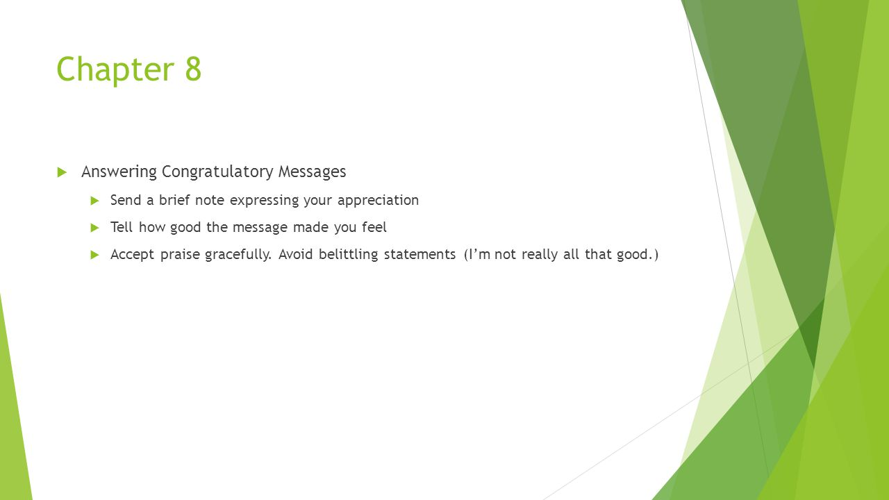 Chapter 8 Answering Congratulatory Messages