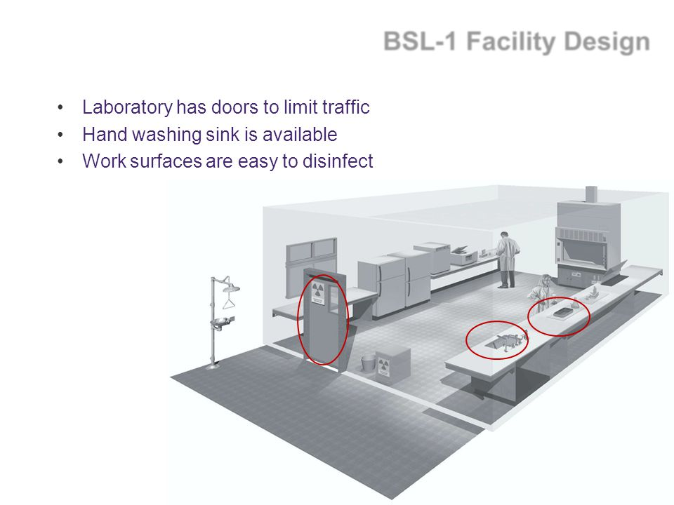 Laboratory has doors to limit traffic