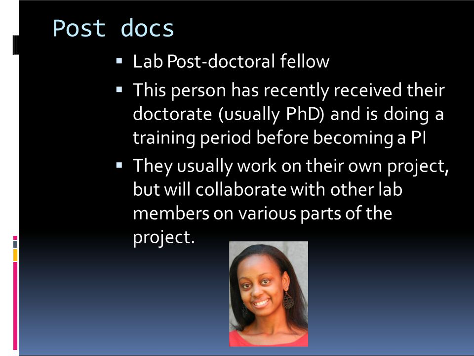 Post docs Lab Post-doctoral fellow