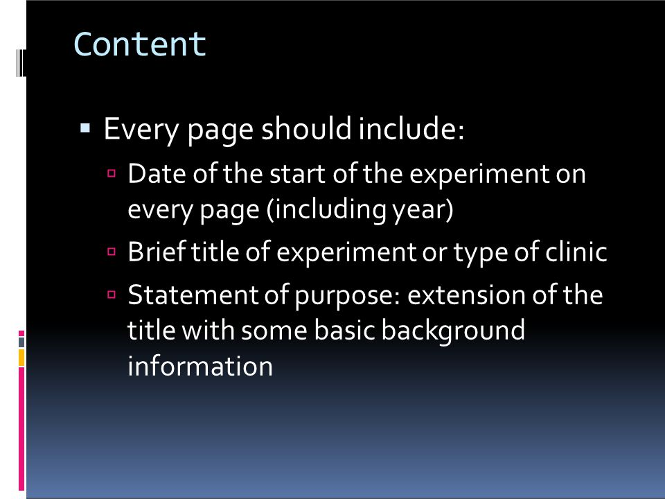 Content Every page should include: