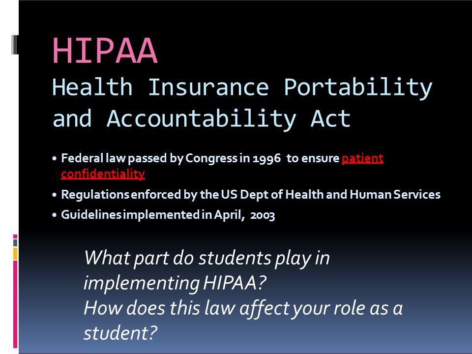 HIPAA Health Insurance Portability and Accountability Act