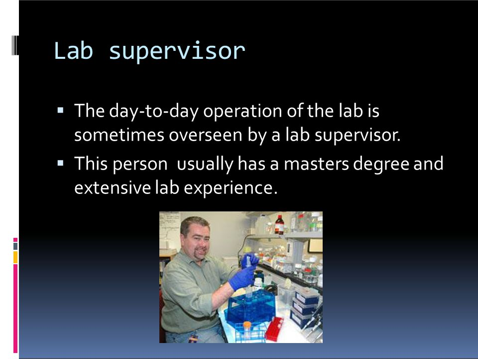Lab supervisor The day-to-day operation of the lab is
