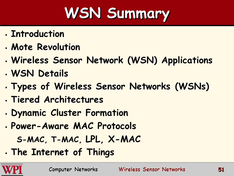 Computer Networks Wireless Sensor Networks