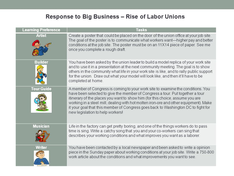 Response to Big Business – Rise of Labor Unions