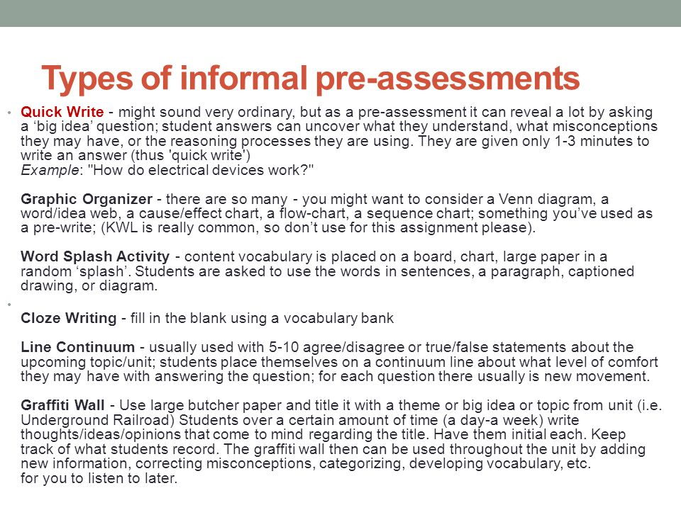Types of informal pre-assessments