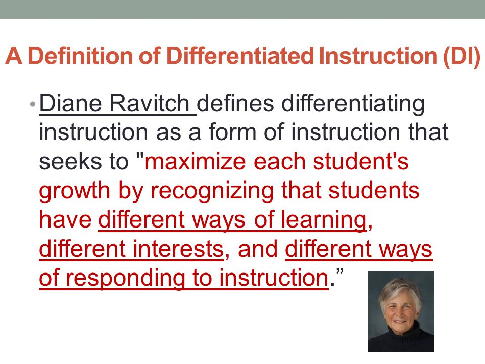 A Definition of Differentiated Instruction (DI)