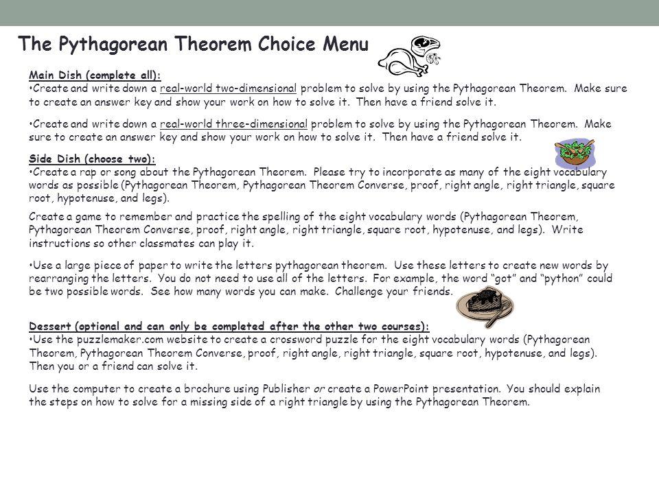 The Pythagorean Theorem Choice Menu