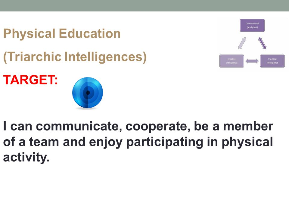Physical Education (Triarchic Intelligences) TARGET: