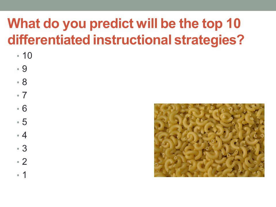 What do you predict will be the top 10 differentiated instructional strategies